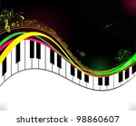 black piano music background | Shutterstock .eps vector #98860607