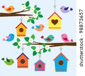 Stock vector colorful birds and birdhouses in spring 98873657
