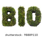 BIO word formed from moss isolated on white - stock photo