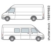 side view of white minibus... | Shutterstock . vector #98899883