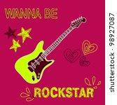 rock star vector guitar... | Shutterstock .eps vector #98927087