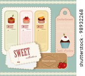 Vintage Dessert menu - set of labels - Vector illustration - stock vector