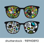 retro sunglasses with cats and... | Shutterstock .eps vector #98940893