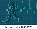 vector illustration of heartbeat electrocardiogram and running man - stock vector