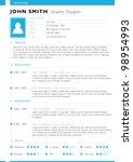 resume template. vector | Shutterstock .eps vector #98954993