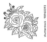 vector roses illustration | Shutterstock .eps vector #98960393