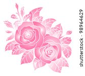 vector pink roses beautiful - stock vector