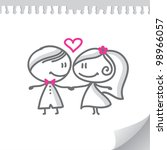 cartoon wedding couple on... | Shutterstock . vector #98966057