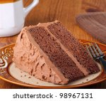 Piece of chocolate cake on a plate - stock photo