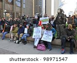 TORONTO, CANADA - MAR 31:  Protesters gathered to protest the election fraud committed in the last Canadian federal election and to call for election reform Mar 31, 2012 in Toronto, Ontario. - stock photo