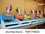 Row Of Old Laughing Clowns At...