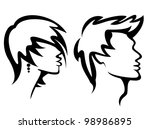 set of portraits with haircuts, vector illustration - stock vector