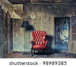 luxury armchair in grunge interior (Photo compilation. Photo and hand-drawing elements combined.) - stock photo