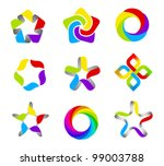 Business abstract logo template set. 5 point ribbon stars icon. Vector. Designed for any type of business. - stock vector