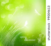 Spring and summer grass watercolor background with bokeh vector - stock vector