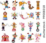 cartoon happy circus show icons collection - stock vector