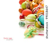 colorful easter eggs with... | Shutterstock . vector #99018647
