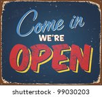 vintage tin sign   open sign  ... | Shutterstock . vector #99030203