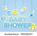 baby shower card for boy | Shutterstock .eps vector #99038297