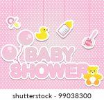 Baby shower card for girl - stock vector