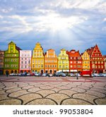 City centre, Solny Square tenements (rynek) , Wroclaw Poland - stock photo