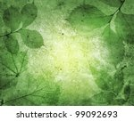 green leaves with vintage... | Shutterstock . vector #99092693