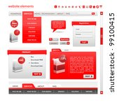 Web Design Frame Vector. Red set - stock vector