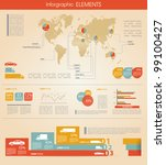 Detail infographic vector illustration. World Map and Information Graphics summary info about cars and manufacture - stock vector