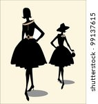 Fancy vintage silhouette of two girls - stock vector