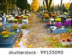 Cemetery alley background - stock photo