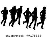 vector drawing disco dancers... | Shutterstock .eps vector #99175883