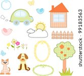 Set Of Textile Stickers Vector...