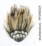 Brown and black feather mosaics fan type,Isolated on the white background - stock photo