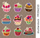 cake stickers - stock vector
