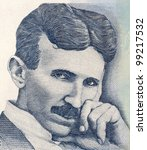 SERBIA - CIRCA 2006: Nikola Tesla on 100 Dinara 2006 Banknote from Serbia. Best known as the Father of Physics. - stock photo