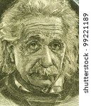 ISRAEL - CIRCA 1968: Albert Einstein (1879-1955) on 5 Pounds 1968 Banknote from Israel. German born theoretical physicist regarded as the father of modern physics. - stock photo