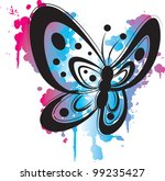 grunge purple butterfly | Shutterstock .eps vector #99235427
