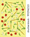 vector carrots cucumber garlic...   Shutterstock . vector #99296213