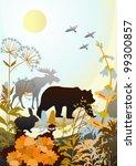 vector silhouettes of wild... | Shutterstock . vector #99300857