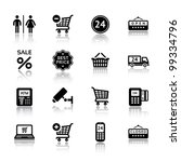 Set pictogram supermarket services, Shopping Icons - stock vector
