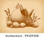 Easter Bunny Vintage Style. Vector version is also available. - stock photo