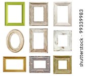 Collection of shabby chic distressed picture frames, isolated. - stock photo