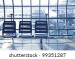waiting chair in the airport - stock photo