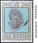 Small photo of SAN MARINO - CIRCA 1974: A stamp printed in San Marino dedicated to Ancient Weapons from Cesta Museum, shows Crested Morion, circa 1974