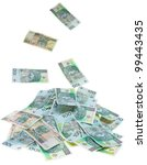 A Polish money 100 zlotys rain - stock photo