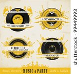 vintage music labels and badges. | Shutterstock .eps vector #99449993