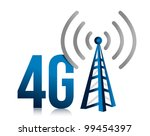 4G speed tower connection illustration design over white - stock photo