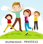 family jumping | Shutterstock .eps vector #99455513