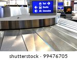 Luggage carousel and ground transportation at international airport - stock photo