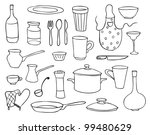 household objects and dishes vector set - stock vector